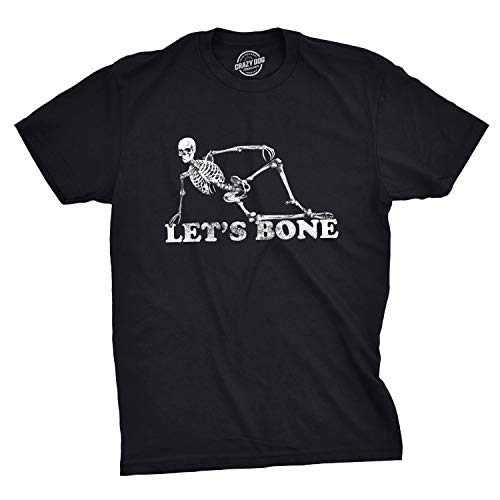 Crazy Costumes Ideas (Mens Lets Bone T Shirt Funny Halloween Skeleton Tee Costume Ideas (Black) -)