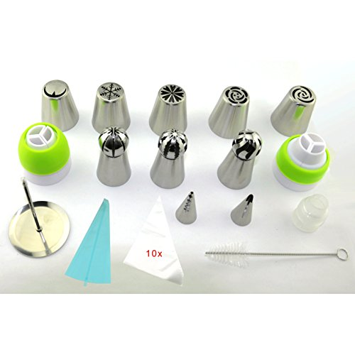 Russian Piping Tips - Cake Decorating Supplies - Cake Pastry Tools - 27 Baking Supplies Set - 15 Lcing Nozzles - 3pcs Spherical Tube - 5pcs extra Large Decoration Kits - 3pcs Couplers - 2pcs Leaf Tip by HI-QUAL
