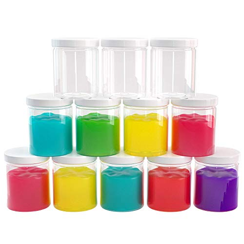 Slime Containers with Water-tight Lids (6 oz, 12 Pack) - Clear Plastic Food Storage Jars - Great for your slime kit - BPA -