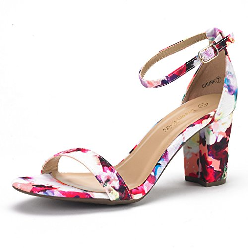 DREAM PAIRS Women's Chunk Floral Low Heel Pump Sandals - 9.5 M US