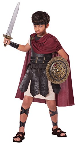 Greek Warrior Costume Child (California Costumes Boys Spartan Warrior Costume with Sword & Shield, Black/Burgundy, X-Large)