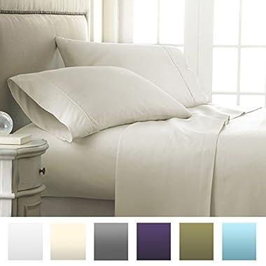 Beckham Hotel Collection® Luxury Embossed Checkered Design 4Pc Bed Sheet Set - Queen - Cream/Checker