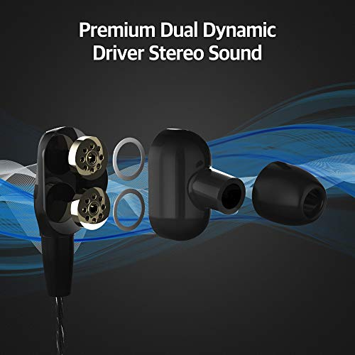 Sound Panda SPE-D2 Earbuds with Mic, in- Ear Ergonomic Headphones with Heavy Bass Dual Stereo Driver, Volume Control, Noise Isolating Headset with 3.5mm for iPhone, Android, PC and Sports (Black)