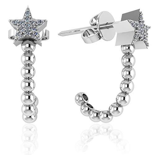 .925 Sterling Silver & Pavé-Set Cubic Zirconia J Shape Half Hoop and Stud Earrings - Star -