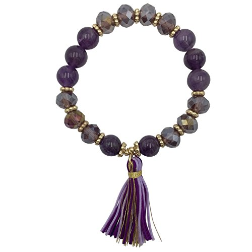 (Stone & Glass Beaded Thread Tassel Stretch Bracelet - Assorted Colors (Purple Tones))