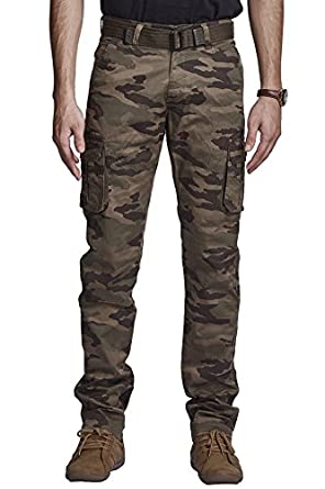 BEEVEE 100% Cotton Chemo Printed Lycra Light Brown Fixed Waist Cargo with Belt Men's Casual Trousers at amazon