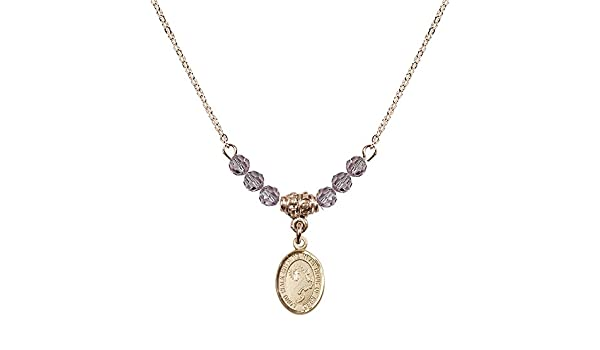 Cross Charm. 18-Inch Hamilton Gold Plated Necklace with 4mm Rose Birthstone Beads and Gold Filled Footprints