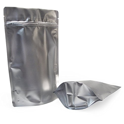 6 x 9.5 x 3 - 4.0 mils Mylar Zip Lock Stand Up Bags Matte Silver Foil Pouch - Qty 25 ()