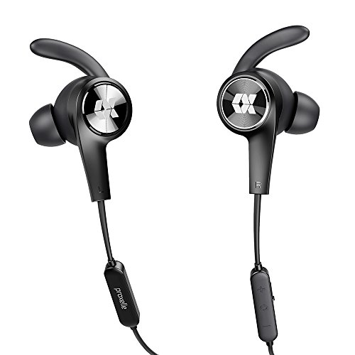Duo Stereo Headset (Bluetooth Headphones, Proxelle Magnetic V4.2 Wireless Earbuds Sport In-Ear Aptx Hifi Stereo Headsets IPX5 Sweatproof Earphones with Mic 7 Hours Playtime Secure Fit for Sports Running Gym DUO (Black))