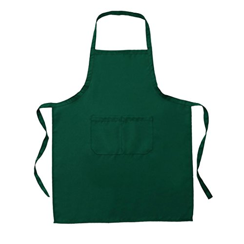 Price comparison product image Chartsea New Plain Unisex Cooking Catering Work Apron Tabard with Twin Double Pocket (Green)
