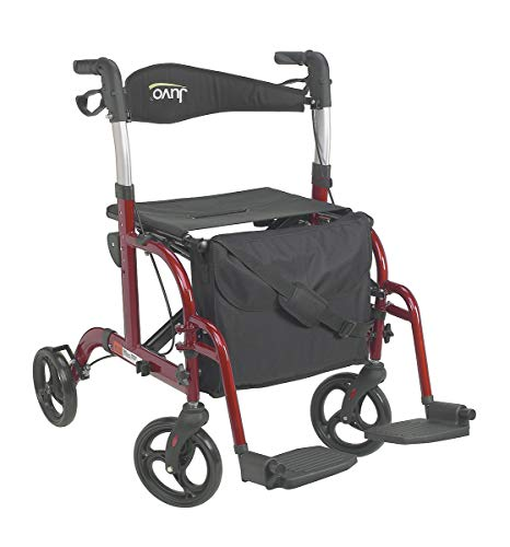 (Juvo Convertible Rollator-Transport Chair, 250-Pound Capacity, Cherry Red(TCH101), 1 Count )