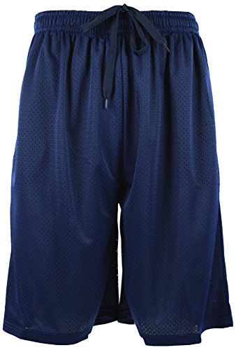 ChoiceApparel® Mens Training/Basketball Shorts with Pockets (Many Designs to Choose from) (2XL, MESH-Navy)