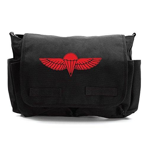 IDF ISRAELI ARMY Paratrooper Wings Messenger Shoulder Bag Black & Red ()