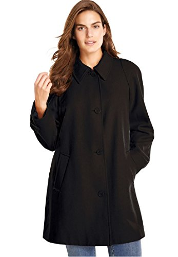 Women's Plus Size Coat, A-Line In Wool-Blend Black,22 W - Collar A-line Coat