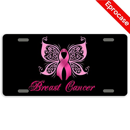 Eprocase Breast Cancer Awareness License Plate Pink Ribbon Butterfly License Plate Cover Decorative Car Tag Sign Metal Auto Tag Novelty License Plate 4 Holes £¨12