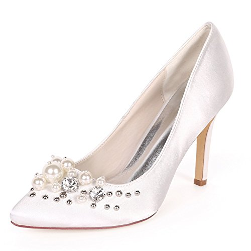 D'orsay 0608 Femmes EU38 Mariage Chaussures Strass Toe Ager Nuptiale White Closed Flower 01F Satin UK5 xqXB5awt