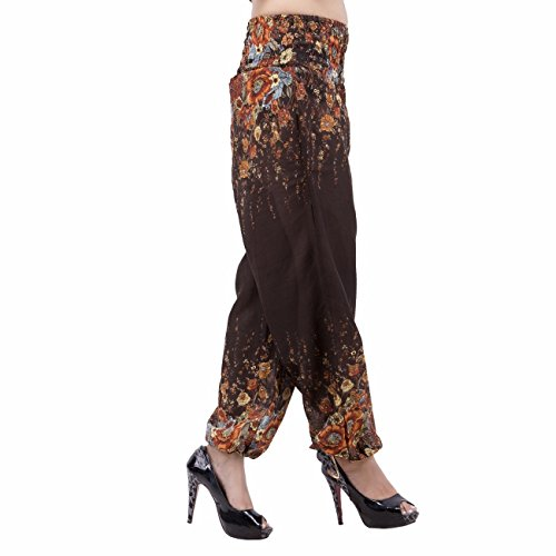 Jaipur Kala Kendra Mujer Algodón Floral Impreso Afghani Harem Pantalón marrón
