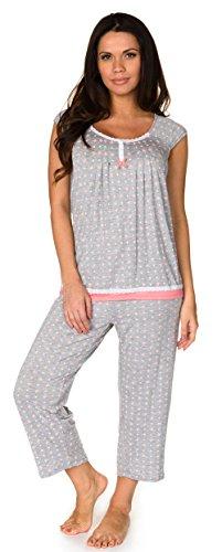 Velvet Kitten Tuck Me In PJ Set Grey Cropped Pant PJ Comfy Sleepwear (Grey, Medium) -