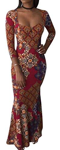 Yayun Yayu Womens Fashion Long Sleeve Africa Print Fishtail Hem Evening Maxi Dress Wine Red S by Yayun