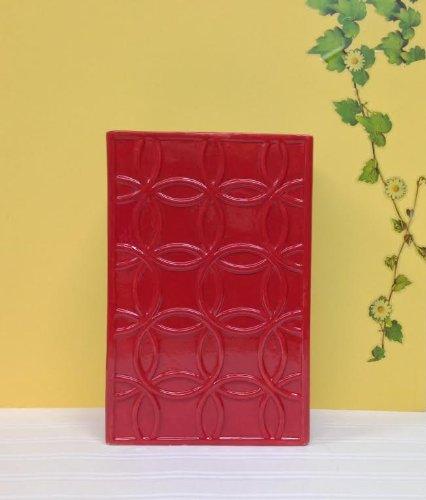 Red Rectangular Vases (TUSCAN COLLECTION CLASSIC RED EMBOSSED RECTANGULAR CERAMIC VASE 12
