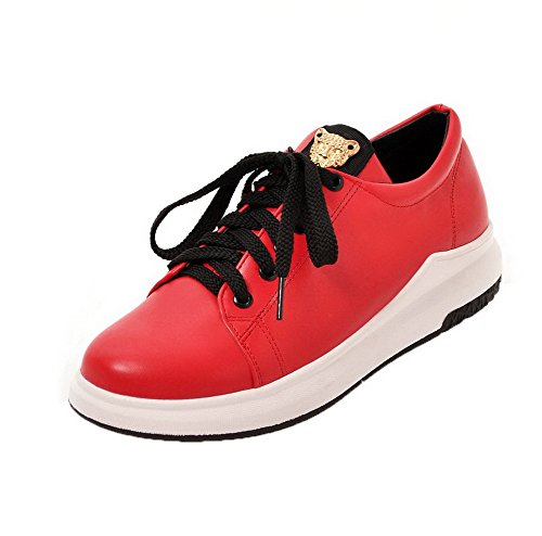 PU Round Lace Red Womens No Heel Toe Pumps AllhqFashion Shoes Up Solid pRCYxwq