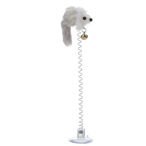Everpert Juguetes de gato elásticos con plumas y ratón falso, con ventosa, juguetes interactivos