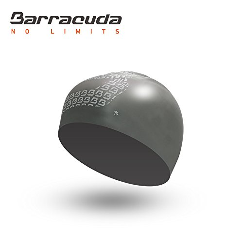 Barracuda Accessories - 3D Silicone Cap (Big B Logo), Solid Color, Waterproof Silicone, Professional for Adults Men Women (Silver)