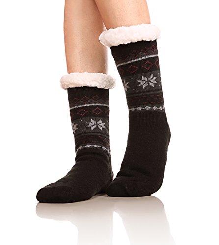 Lining Slip (Womens Winter Fleece Lining Knit Christmas Non Slip Knee Highs Stockings Warm Fuzzy Cozy Slipper Socks (Black))