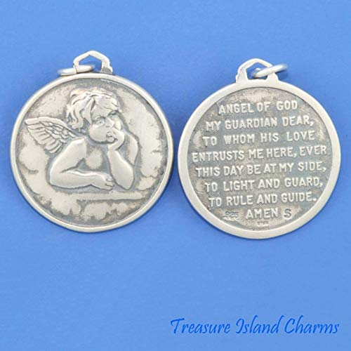 Guardian Angel with Prayer Medallion .925 Solid Sterling Silver Charm DIY Jewelry Making Supply for Charm Pendant Bracelet by Charm - Earrings Horse Medallion Sterling Silver