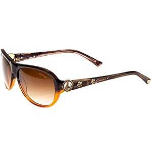Ed Hardy Peace Sunglasses Grey Brown Brown Gradient 58 15 128