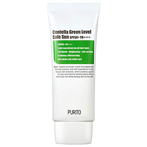 PURITO Centella Green Level Safe Sun SPF50+ PA++++,Broad Spectrum UVA1,2,UVB/oil-free suncream/non-nano system, Acne-prone skin