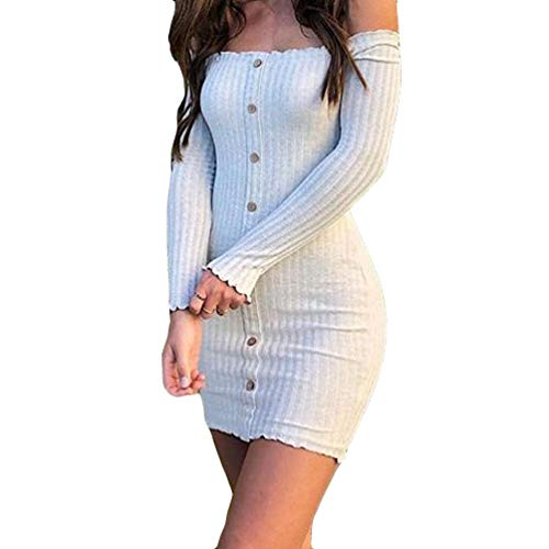 Automne Robe Hiver Sexy Dress overdose Blanc Manches Slim Moulante À Longues Robes Mini Bardot Femme FTl1uJK35c