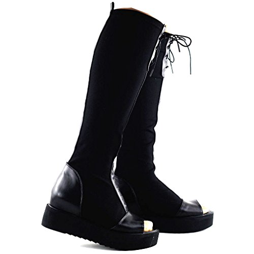 Show Story Punk Black Lace-up Stretch Low Heel New Thigh High Ridding Boots,Q3F9102BK39,8US,Black