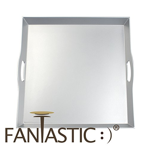 Fantastic:) New Classic Design with Metallic Finish style Decorative tray (Square Wave Silver)