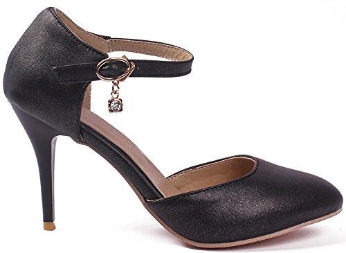 AgeeMi Shoes Damen Schnalle PU Hoher Absatz Rein Pumps Schuhe Schwarz