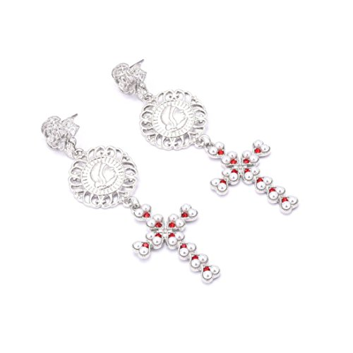 Hot Sale! Women Fashion Elegant Crystal Ear Clip Tassel Ear Stud Earrings Jewelry for Wedding Party (Silver - Crucifix, (Wire Crucifix)
