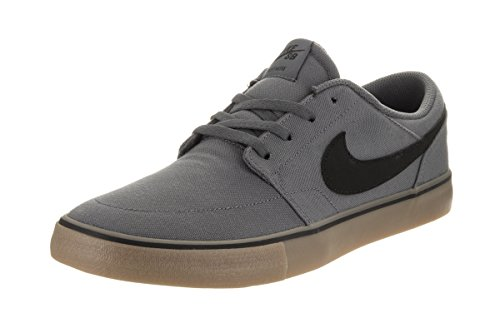 NIKE MENS NIKE SB PORTMORE II SOLAR CNVS DK GREY BLACK GUM LIGHT BROWN SIZE 11.5
