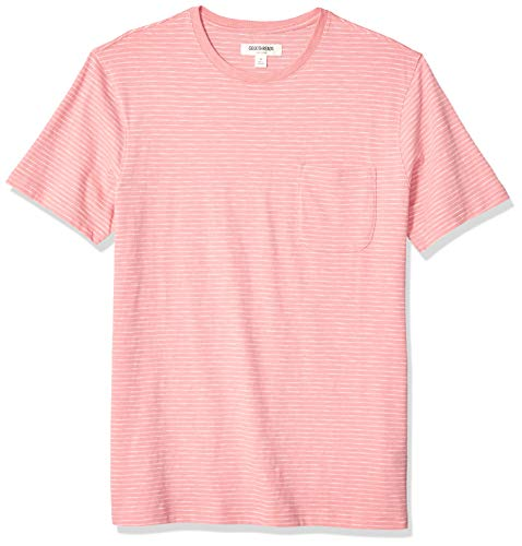 Goodthreads Men's Short-Sleeve Striped Slub Crewneck Pocket T-Shirt, Pink, Medium ()
