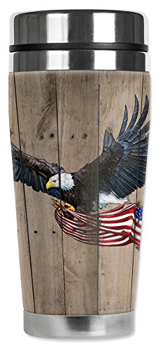 Mugzie brand 20-Ounce Travel Mug with Insulated Wetsuit Cover - Eagle with Flag