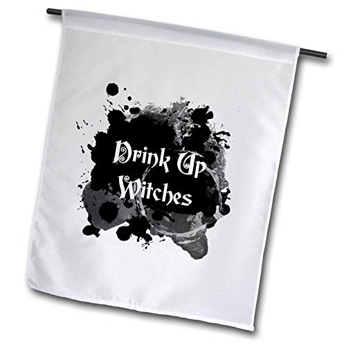 3dRose InspirationzStore - Occasions - Drink Up Witches - Witch Brew Halloween Witchs Potion Black Ink Splat - 12 x 18 inch Garden Flag (fl_317318_1) -