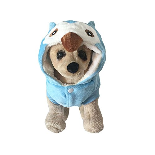 Lookvv Funny Pet Dog Winter Warm Outfit Halloween Clothes Apparel Owl Cosplay Costume Fleece Lining Hoodies Coat Sweater Blue XS (Neck:8.27