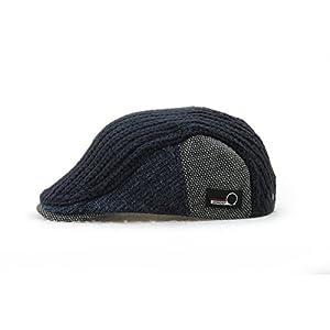 YCHY Men's Knitted Wool duckbill Hat Warm Newsboy Flat Scally Cap (Deep Blue)