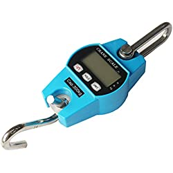 Digital Electronic Crane Scale, 300kg /661 Lb0.1 Kg Heavy Duty Compact Hanging Scale Hoists Scale with LED Mini Industrial Digital Hanging Scale Luggage Scales (Color : Blue, Size : 60kg-0.02kg)