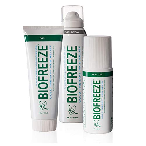 - Biofreeze Pain Relief Gel Multi-Pack, Variety Pack Includes Tube, Spray, and Roll-On Formulas of the #1 Clinically Recommended Topical Analgesic