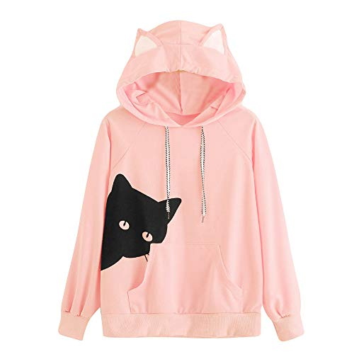 E-Scenery Women's Hoodie Sweatshirt Cat Print Cotton Drawstring Long Sleeve Pullover Tops with Pocket (Pink, Large)