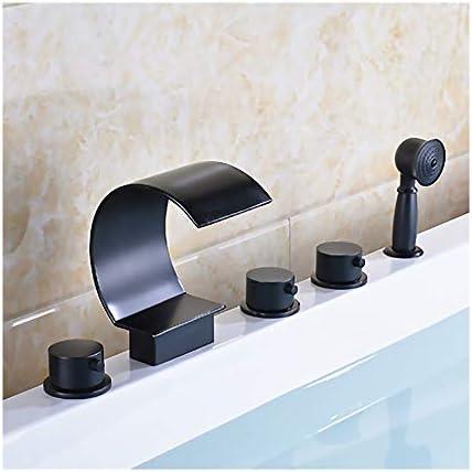 黒の浴槽の蛇口真鍮の浴室の浴槽の蛇口3ハンドル5穴シャワーの蛇口セットデッキマウント滝浴槽タップハンドヘルドシャワーとホースを含める