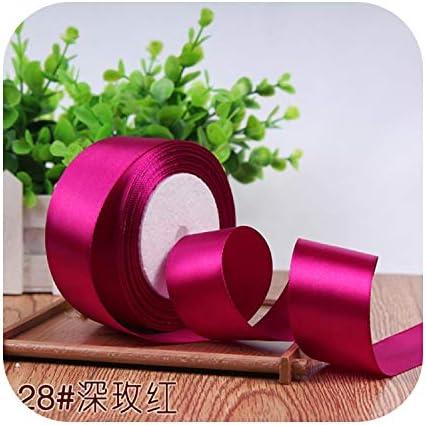 kawayi-桃 6/10/15/20/25/40 / 50mmサテンリボンDIY人工シルク工芸用品ソーイングアクセサリースクラップブッキング素材ギフトボックスベルト-dark rose-40mm