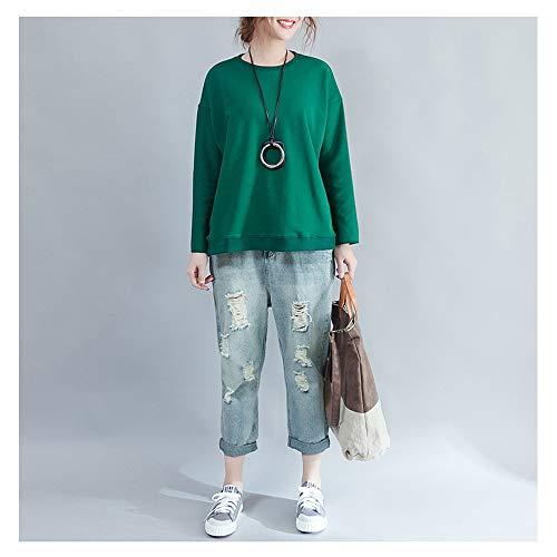 di grandi irregolare a donna shirt del con coreana maniche tinta T pullover orlo da dimensioni girocollo unita lunghe Green 0Bg8gqAw