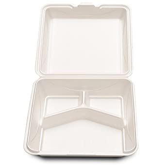 Enviroware GFHC9-3-200W 9-Inch Hinged Biodegradable  Wheat Color 3 Compartment Container 100-Pack (Case of 2)
