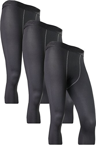 Jessie Kidden Men's 3/4 Compression Base Layer Tights Pants Fitness Running Leggings #1050